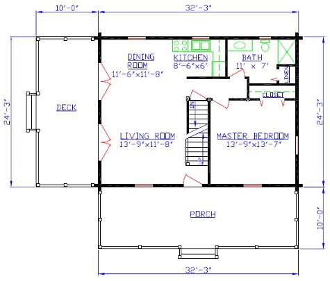 Ms log cabin floorplan 10 for Mountain cabin floor plans