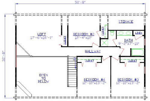 The Farmingdale Log Home Floorplan
