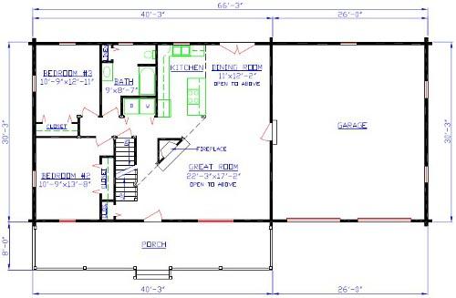 The Tioga Log Home Floorplan